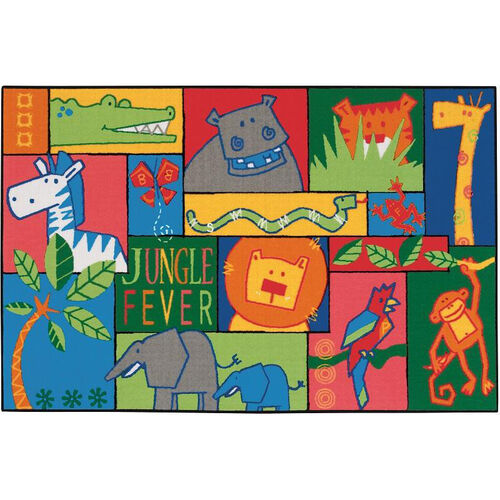 Kids Value Jungle Fever Rectangular Nylon Rug - 36