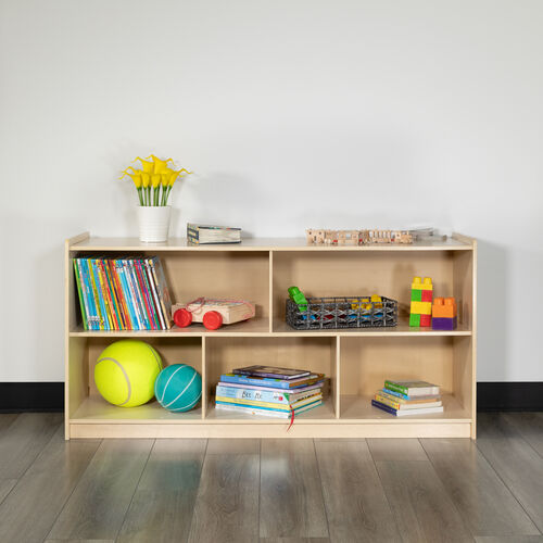 """Wooden 5 Section School Classroom Storage Cabinet for Commercial or Home Use - Safe, Kid Friendly Design - 24""""H x 48""""L (Natural)"""