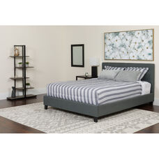 Tribeca Queen Size Tufted Upholstered Platform Bed in Light Gray Fabric with Memory Foam Mattress