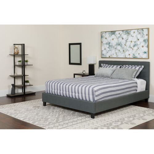 Our Tribeca Queen Size Tufted Upholstered Platform Bed in Light Gray Fabric with Memory Foam Mattress is on sale now.