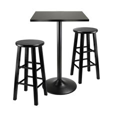 Obsidian 3-Pc Square Counter Height Dining Set with 2 Wood Stools in Black