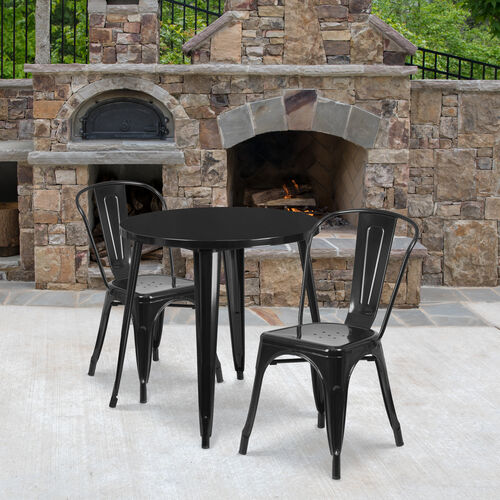 """Our Commercial Grade 30"""" Round Metal Indoor-Outdoor Table Set with 2 Cafe Chairs is on sale now."""