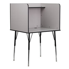 Study Carrel with Adjustable Legs and Top Shelf in Nebula Grey Finish