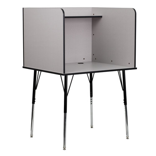 Our Study Carrel with Adjustable Legs and Top Shelf in Nebula Grey Finish is on sale now.