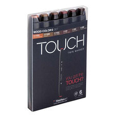 ShinHan Art TOUCH Twin 6-Piece Wood Colors Marker Set