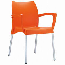 Dolce Outdoor Resin Stackable Arm Chair with Aluminum Legs - Orange