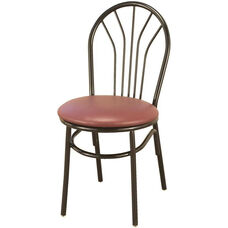 3200 Series Armless Hospitality Chair with Decorative Steel Frame Back and Upholstered Seat