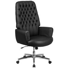 High Back Traditional Tufted Black LeatherSoft Executive Swivel Office Chair with Silver Welt Arms
