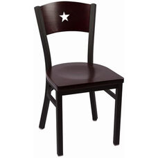 Liberty Series Wood Back Armless Chair with Steel Frame and Wood Seat - Mahogany