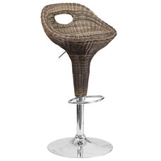 Contemporary Wicker Cutout Back Adjustable Height Barstool with Chrome Base
