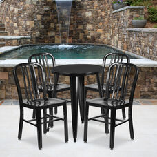 "Commercial Grade 24"" Round Black Metal Indoor-Outdoor Table Set with 4 Vertical Slat Back Chairs"