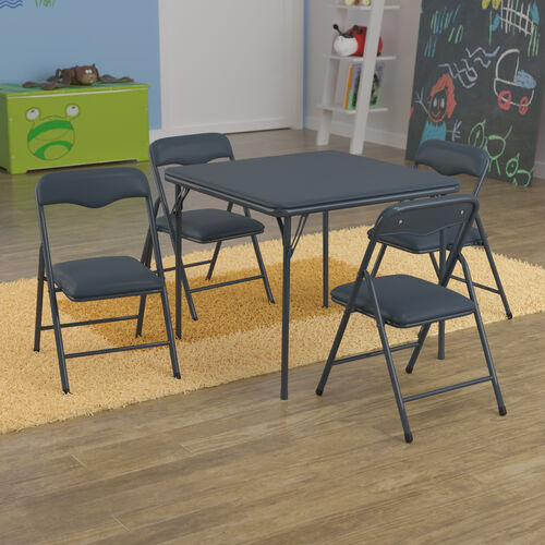 Kids Navy 5 Piece Folding Table and Chair Set