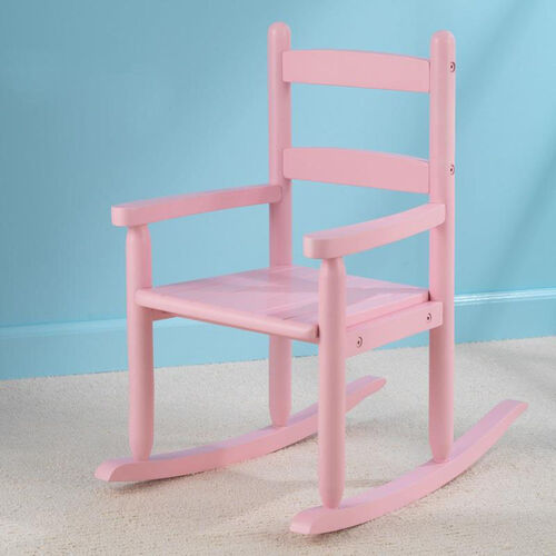 Classic Style Childs Indoor Wooden Rocker with Two-Slat Back - Pink