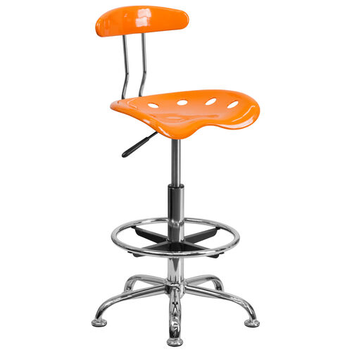 Our Vibrant Orange and Chrome Drafting Stool with Tractor Seat is on sale now.