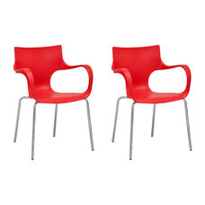 Phin Stackable Chair with Red Seat and Chromed Legs - Set of 2