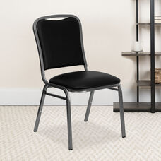 HERCULES Series Stacking Banquet Chair in Black Vinyl - Silver Vein Frame