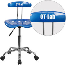 Personalized Vibrant Bright Blue and Chrome Swivel Task Office Chair with Tractor Seat