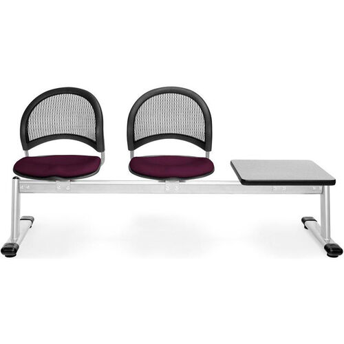 Our Moon 3-Beam Seating with 2 Burgundy Fabric Seats and 1 Table - Gray Nebula Finish is on sale now.