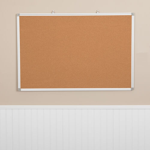 """Our HERCULES Series 35.5""""W x 23.5""""H Natural Cork Board with Aluminum Frame is on sale now."""