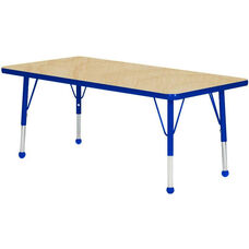 Adjustable Standard Height Laminate Top Rectangular Activity Table - Maple Top with Blue Edge and Legs - 72
