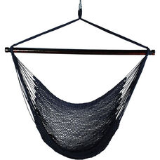 Caribbean Tight Weave Polyester Hanging Hammock Rope Chair - Navy Blue