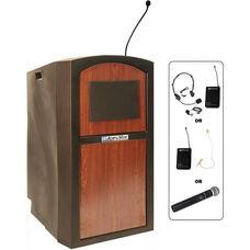 Pinnacle Wireless 150 Watt Sound and Microphone Full Height Lectern - Cherry Finish - 26