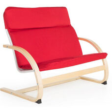 Kiddie Rocker Couch with Removable Cushion and Steam-Bent Plywood Construction - Red - 31.5