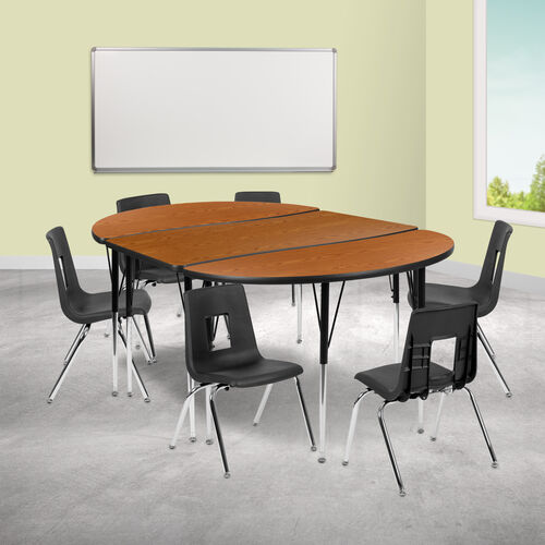 """76"""" Oval Wave Collaborative Laminate Activity Table Set with 16"""" Student Stack Chairs, Oak/Black"""