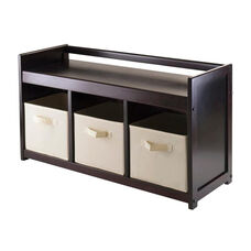 Addison 4-Pc Storage Bench with 3 Foldable Beige Fabric Baskets
