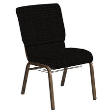 Embroidered 18.5''W Church Chair in Jewel Onyx Fabric with Book Rack - Gold Vein Frame