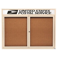 2 Door Indoor Illuminated Enclosed Bulletin Board with Header and Ivory Powder Coated Aluminum Frame - 36