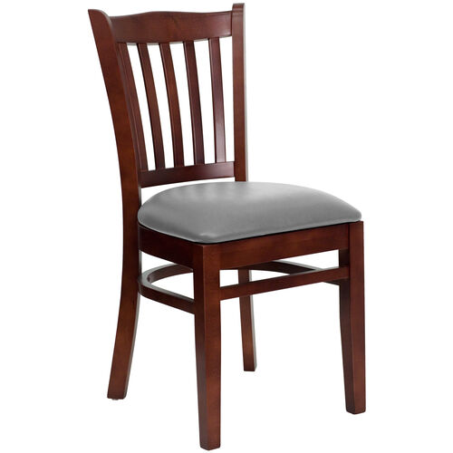 Our Mahogany Finished Vertical Slat Back Wooden Restaurant Chair with Custom Upholstered Seat is on sale now.