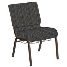 Embroidered 21''W Church Chair in Canyon Sky Fabric with Book Rack - Gold Vein Frame