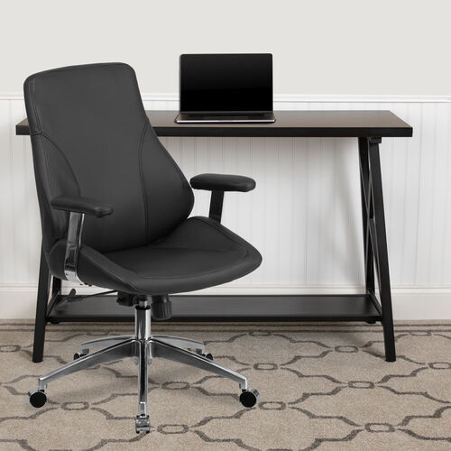 Mid-Back LeatherSoftSoft Smooth Upholstered Executive Swivel Office Chair with Arms