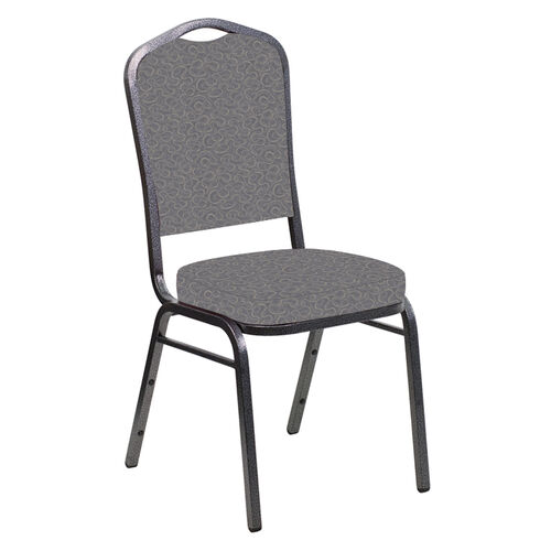Our Embroidered Crown Back Banquet Chair in Ribbons Fog Fabric - Silver Vein Frame is on sale now.