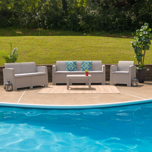 Our 4 Piece Outdoor Faux Rattan Chair, Loveseat, Sofa and Table Set in Light Gray is on sale now.