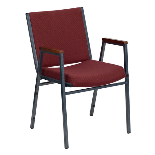 Our HERCULES Series Heavy Duty Burgundy Patterned Fabric Stack Chair with Arms is on sale now.
