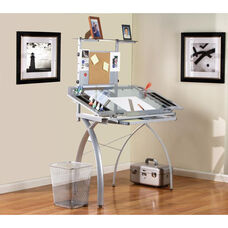 Futura Blue Tempered Glass and Steel Tower Craft Station with Adjustable Angle Work Top - Silver