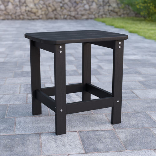 Charlestown All-Weather Poly Resin Wood Adirondack Side Table in Black