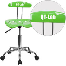 Personalized Vibrant Apple Green and Chrome Swivel Task Office Chair with Tractor Seat