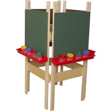 4 Sided Adjustable Board Height Chalkboard Easel with Attached Trays - 25