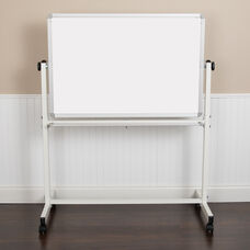 "HERCULES Series 45.25""W x 54.75""H Double-Sided Mobile White Board with Pen Tray"