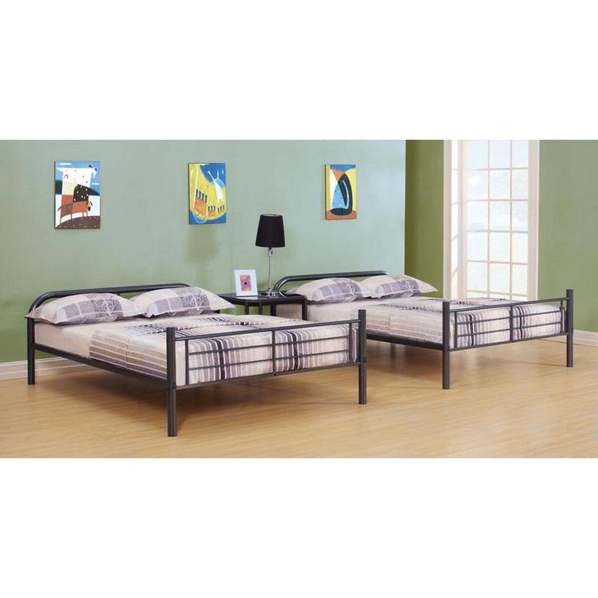 Acme furniture bristol full over full convertible metal for Reverse loft bed