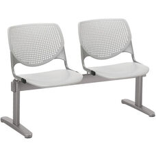 2300 KOOL Series Beam Seating with 2 Poly Perforated Back and Seats with Silver Frame - Light Grey