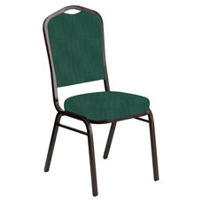 Embroidered Crown Back Banquet Chair in Interweave Emerald Fabric - Gold Vein Frame