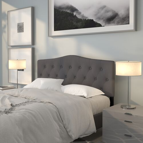 Cambridge Tufted Upholstered Queen Size Headboard in Dark Gray Fabric