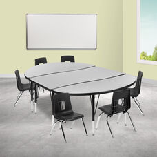 """76"""" Oval Wave Collaborative Laminate Activity Table Set with 14"""" Student Stack Chairs, Grey/Black"""
