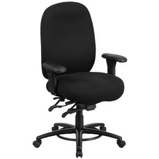 HERCULES Series 24/7 Intensive Use Big & Tall 350 lb. Rated Black Fabric Multifunction Swivel Chair with Foot Ring
