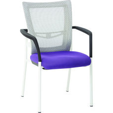 Pro-Line II ProGrid Mesh Back Visitors Chair with Padded Seat and White Finish Frame - Purple