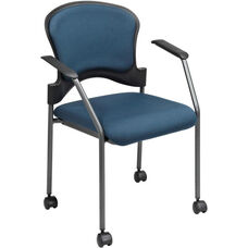 Pro-Line II Upholstered Contour Back Stacking Visitors Chair with Lumbar Support and Casters - Azul